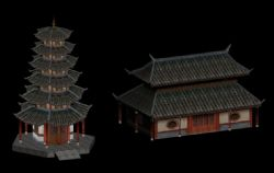 古建筑和塔3D模型