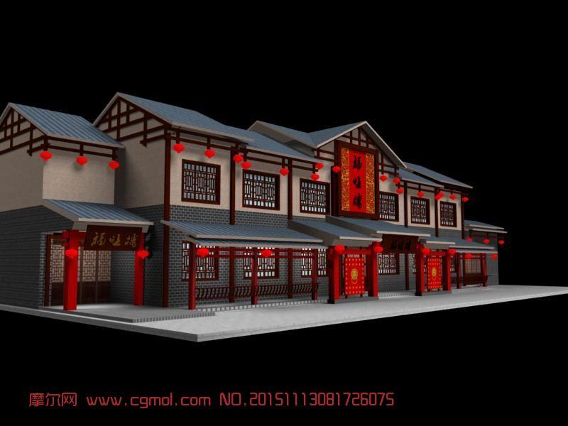 建筑模型 中式建筑  标签:古典饭店中式湘菜馆餐厅 作品描述:古典饭店