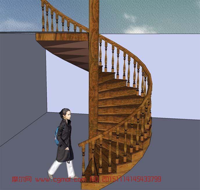 转载: 旋转楼梯su模型