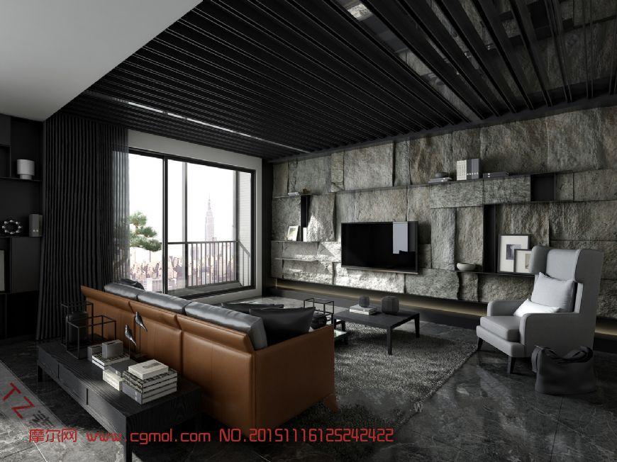 灰色调客厅,大理石背景墙