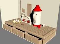 桌面收音机,热水瓶场景