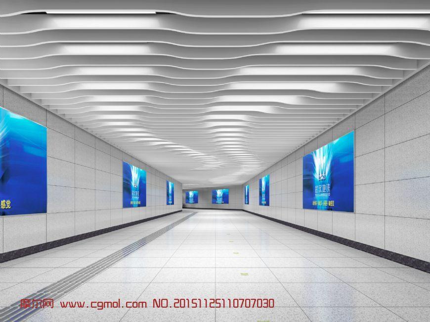 地下通道,地铁通道max模型
