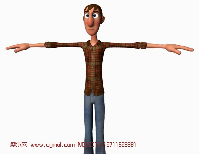 牛仔衬衫男人maya模型,已绑定