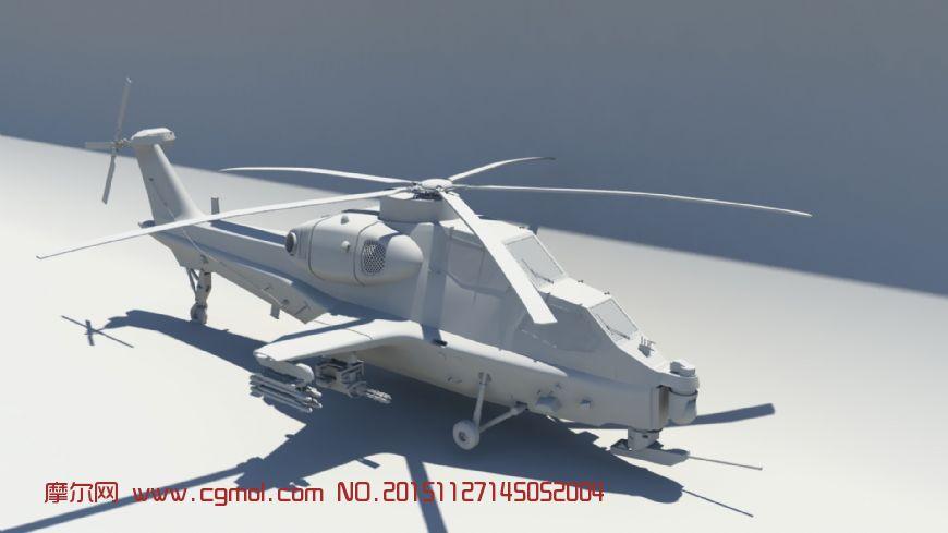 武装直升机10,maya模型