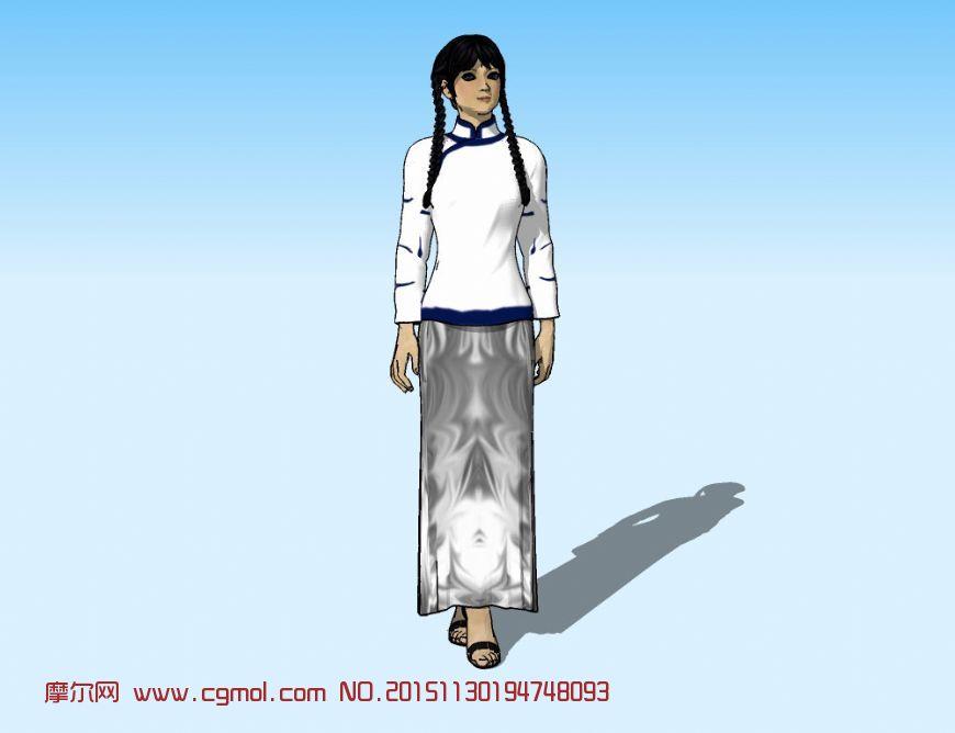 麻花辫女孩,小家碧玉3D模型