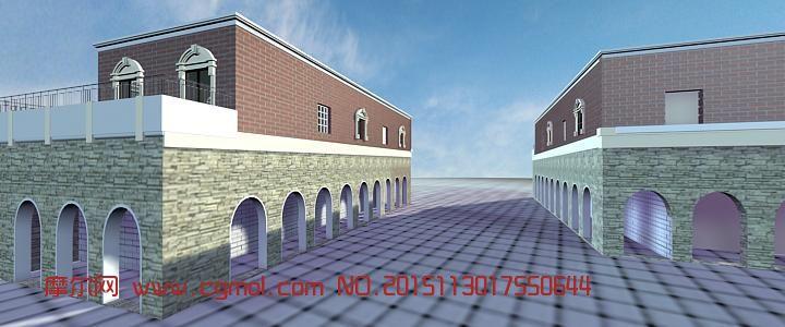 街道,游戏基地3d模型