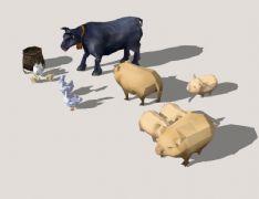 家畜禽母鸡和小鸡鹅猪牛,农家宝3D模型