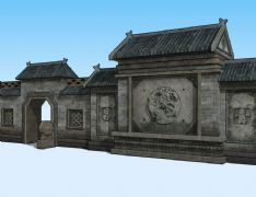 大院围墙,古建民居3D模型