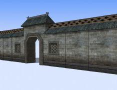 古代围墙,古建3D模型