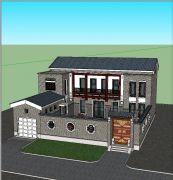 四合院,带车库的复古别墅su模型