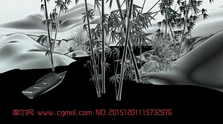 竹林泛舟,水墨画3d逼真模型,含动画