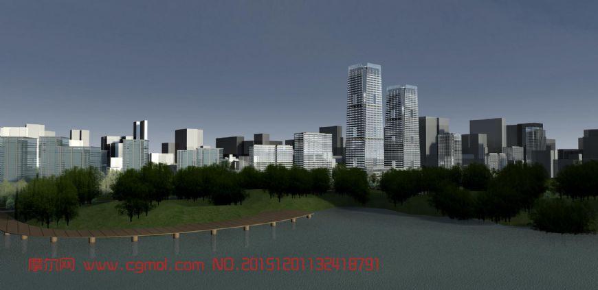 湖边高楼大厦3d模型