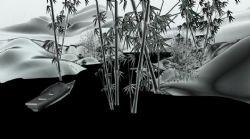竹林泛舟,水墨��3d逼真模型,含�赢�