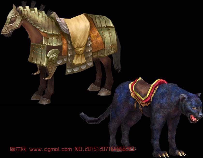赤壁2战马,黑豹坐骑模型,蒙皮好