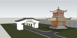 中式公园入口大门,双层六角亭