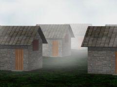 雾中房屋风景