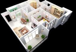 室内现代设计鸟瞰3d模型