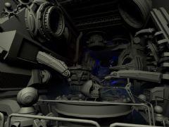 太空舱车间科幻场景设计飞船工厂