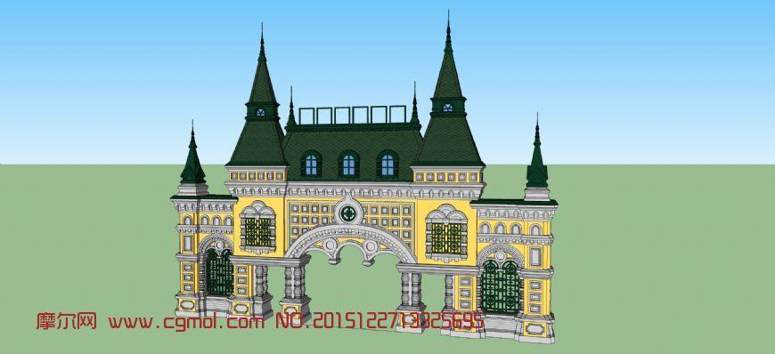 俄罗斯拜占庭风格大门设计,国外建筑,建筑模型,3d模型