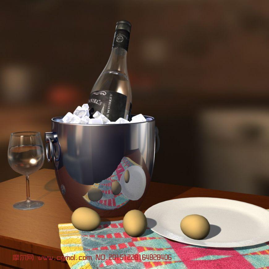 冰镇红酒,鸡蛋静物组合