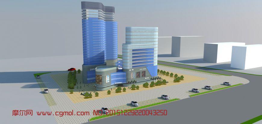建筑模型 中式建筑  标签:商业综合体商场商业楼 作品描述: 上一个
