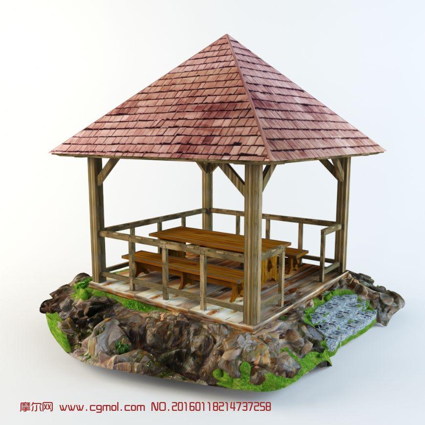 3d模型园林景观木头亭子