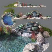 3D景观园林水池叠水石头模型