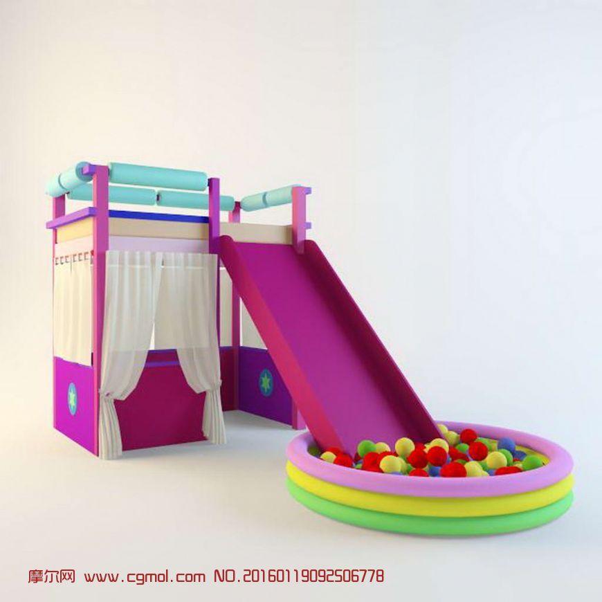 儿童设备游乐场滑滑梯波波池,其他,场景模型,3d模型