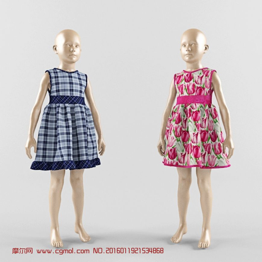 3d服装店男童,女童模特模型