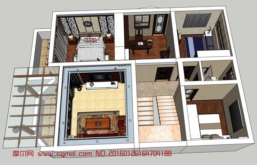 中式整體室內家裝su模型設計