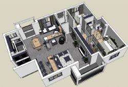 现代风格家装室内SU模型