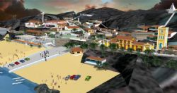 欧式沙滩海边小城镇整体su模型