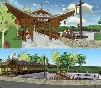 乡村田园长廊桥,风雨桥SketchUp模型