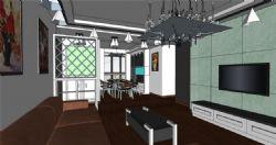 欧式客餐厅su模型