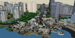 欧式商业街综合体沿海城市SU规划模型