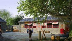 田园风情的农家小院,包含各种农具