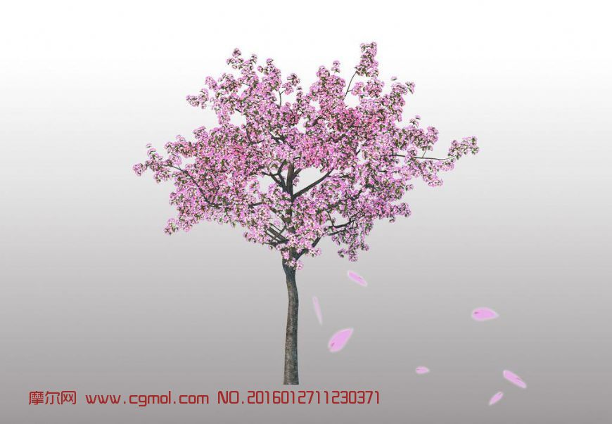 桃树黑白手绘风景图