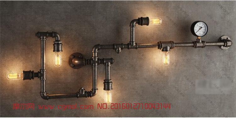 室內模型 家居裝飾  標簽:工業水管燈