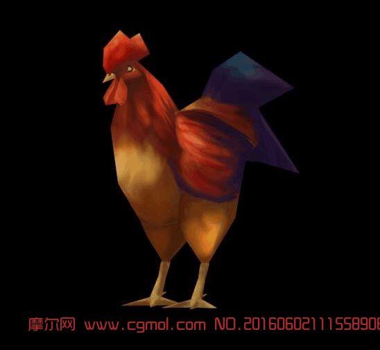 家禽飞禽类公鸡手机端低模三角面FBX格式