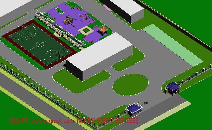 场景模型 自然场景  标签:福利院儿童设施景观滑滑梯亭子篮球场 作品