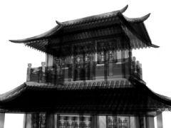 中国古建寺庙―水墨效果