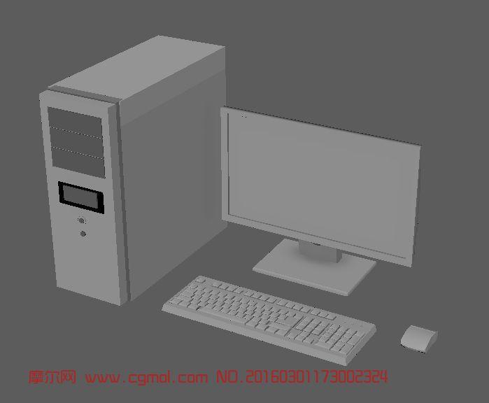 maya电脑显示器主机键盘鼠标,室内家具,室内模型,3d