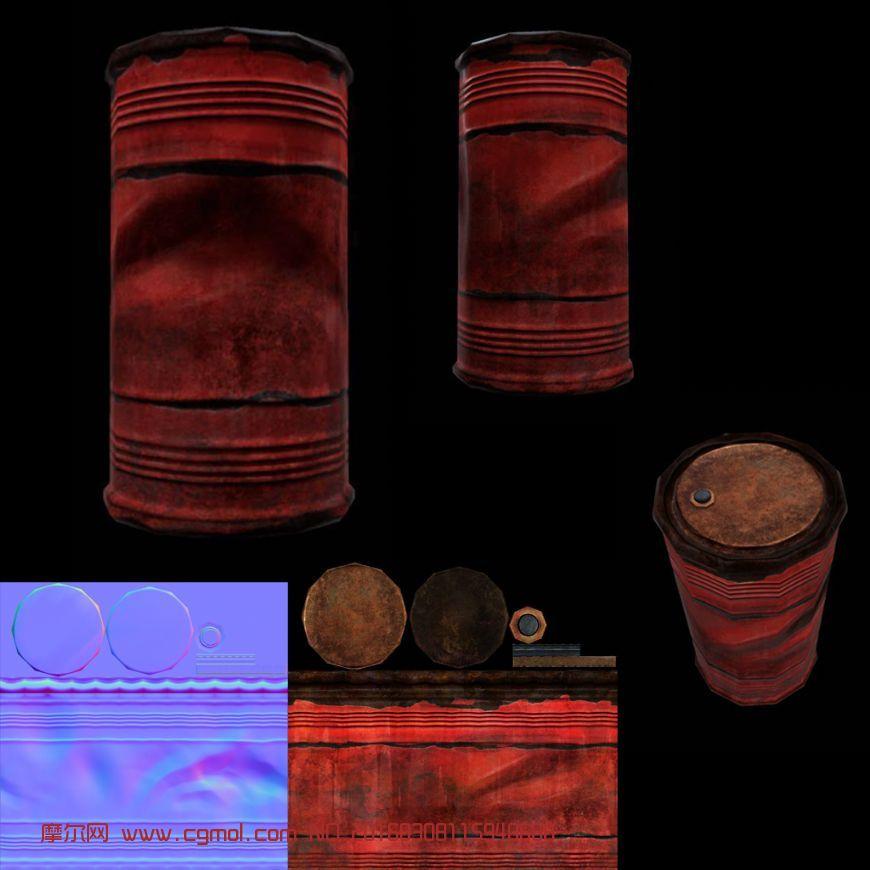 油桶制作,有法线,颜色贴图