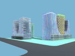超现代异形蜂窝建筑模型,FBX格式