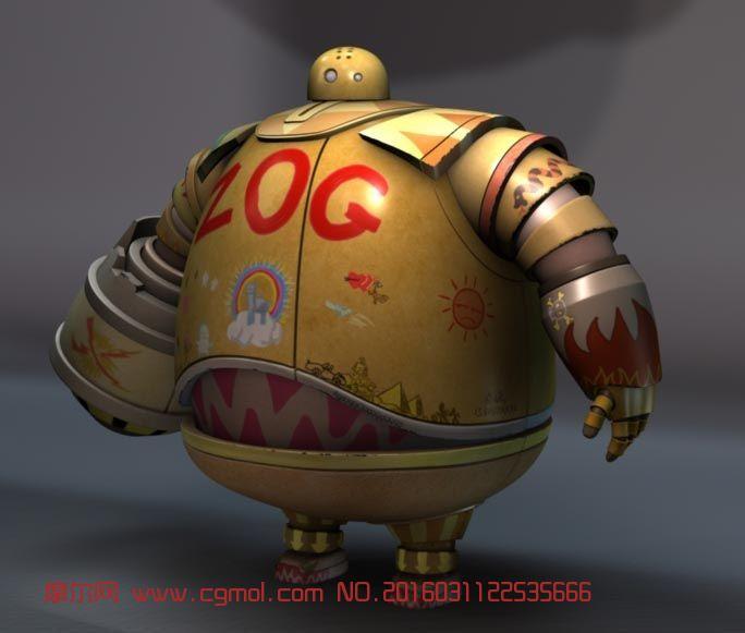 很萌胖机器人maya模型
