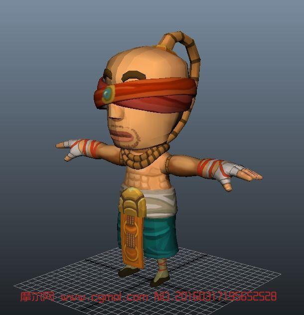 q版蛮僧maya模型,游戏 角色