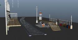 海边车站,救护站maya模型