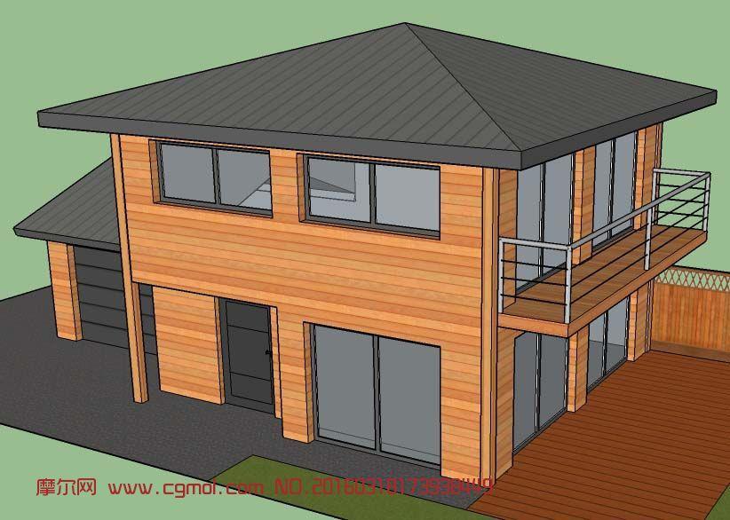 简单的木制别墅su模型