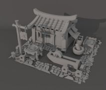 中式建筑农舍maya2015模型