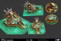 福�M堂海上�L景建筑,卡通�L格max模型,有�N�D